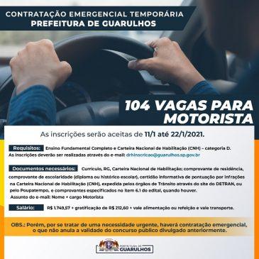 Prefeitura de Guarulhos abre inscrições para contratação temporária emergencial de 104 motoristas